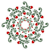 Pattern plants garnet in color, ethnic style embroidery, drawing Royalty Free Stock Photography