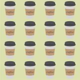 Pattern of plastic and paper Coffee Cups on vintage background. Collection 3d Coffee Cup Mockup. Vector Template.  royalty free illustration