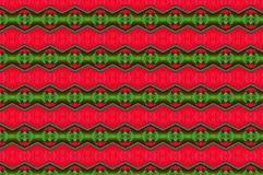 Pattern 2. A play of geometries in green all on a deep red surface, used mostly on silk materials Royalty Free Stock Photos