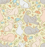 Pattern with playing cats. Seamless background patter with playfull cats and kitten toys Royalty Free Stock Images