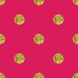Pattern polka dot gold  on pink background. Royalty Free Stock Photos