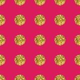 Pattern polka dot gold  on pink background. Stock Photo
