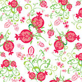 Pattern of pomegranate fruits and flowers Stock Photos