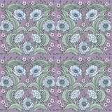 Pattern with poppy and leaves. royalty free stock photography