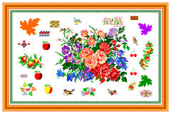 Pattern, popular motif, regular motif, tablecloth, picture. Regular popular motifs. Can be used as carpet or tablecloth or a background for events Royalty Free Stock Photos