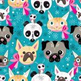 Pattern portraits of animals stock illustration