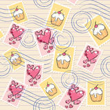 Pattern with postage stamps. Cute seamless pattern with postage stamps on old paper Royalty Free Stock Images