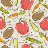 Pattern with  potato, pepper, carrot Stock Photography