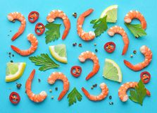 Pattern of prawns and spices Stock Photos