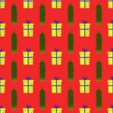 Pattern with present boxes and fir branches royalty free illustration