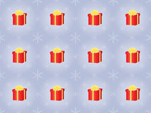 Pattern with presents and snowflakes Stock Photo