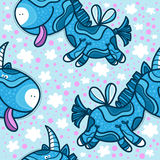 Pattern with pretty cartoon blue unicorns Royalty Free Stock Photos