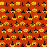 Halloween pattern. Vector illustration. Pattern with pumpkin and hat. Halloween. Vector illustration on a orange background stock illustration