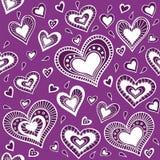 Pattern_purple心脏 库存图片