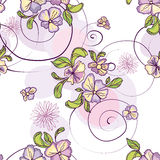Pattern of purple flowers with circles. Seamless pattern of purple flowers with circles Royalty Free Stock Image