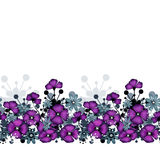 Pattern of purple poppies and flowers background Royalty Free Stock Photos