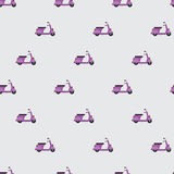 The pattern of purple scooter. Seamless pattern of scooters, located at offset. Scooters purple, in the same direction. Light gray background Royalty Free Stock Image