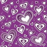 Pattern_purple serce Obrazy Stock