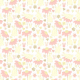Pattern with rabbits and flowers Royalty Free Stock Photo