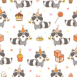 Pattern with raccoons. Royalty Free Stock Photo