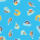 Pattern rainbow, clouds and stars, multicolor lightning strikes and horse shoe. Seamless pattern background. royalty free illustration