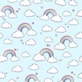 Pattern with rainbow. Seamless vector pattern with clouds, rainbow and hearts Royalty Free Stock Images