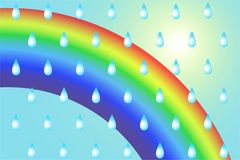Pattern from raindrops on a rainbow background. Vector illustration for poster, banner, business cards Royalty Free Stock Photography