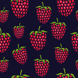 Pattern with raspberries of different size. Cute pattern with raspberries on blue background. Seamless pattern. Vector image Stock Images