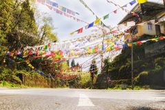 Pattern of rectangular prayer flags Royalty Free Stock Photos