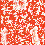Pattern on red background with chinese flowers. Royalty Free Stock Images