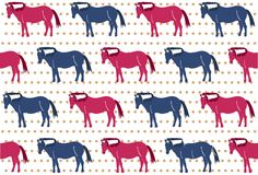 Pattern of red and blue horses on polka dot background. Red and blue horses in vector on polka dot background for kids clothes vector illustration