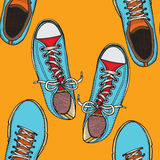 Pattern with red and blue shoes Royalty Free Stock Image