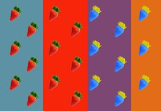Pattern of red and blue strawberries stock photo