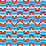 Pattern with red and blue stylized flowers relief effect Royalty Free Stock Photo
