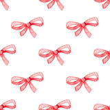 Pattern with red bow. Hand drawn watercolor seamless pattern with red bow on a white background vector illustration