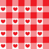 The pattern in the red cell with hearts. Royalty Free Stock Photo
