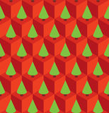 Pattern red cubes green trees. Vector seamless pattern with isometric red cubes and green fir trees Stock Photography