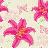 Pattern with red flowers and butterflies Stock Images