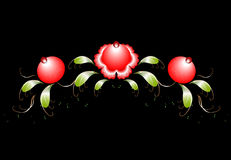 The pattern of red flowers and leaves on a black Royalty Free Stock Images