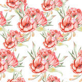 Pattern with red flowers Royalty Free Stock Photo
