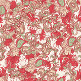 Pattern with red flowes - 3 Stock Photo