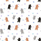 Pattern of red and gray cats with butterflies. On a white background Stock Photo