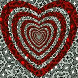 Pattern the red heart on a black-and-white ornament. Beautiful vector. Stock Images