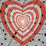 Pattern the red heart on a black-and-white ornament. Vector. Stock Images