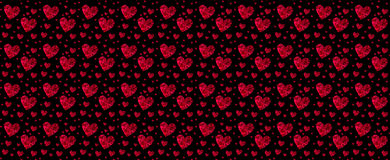 Pattern red heart rose petals on a  black Stock Images