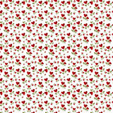 Pattern red heart rose petals on a stalk. Of green leaves on a white background royalty free stock photos
