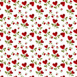 Pattern red heart rose petals on a stalk. Of green leaves on a white background Stock Image