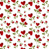 Pattern red heart rose petals on a stalk. Of green leaves on a white background Stock Photo