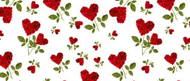 Pattern red heart rose petals on a stalk Royalty Free Stock Images