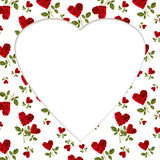 Pattern red heart rose petals on a stalk greeting card billet. Pattern red heart rose petals on a stalk of green leaves on a white background greeting card stock image